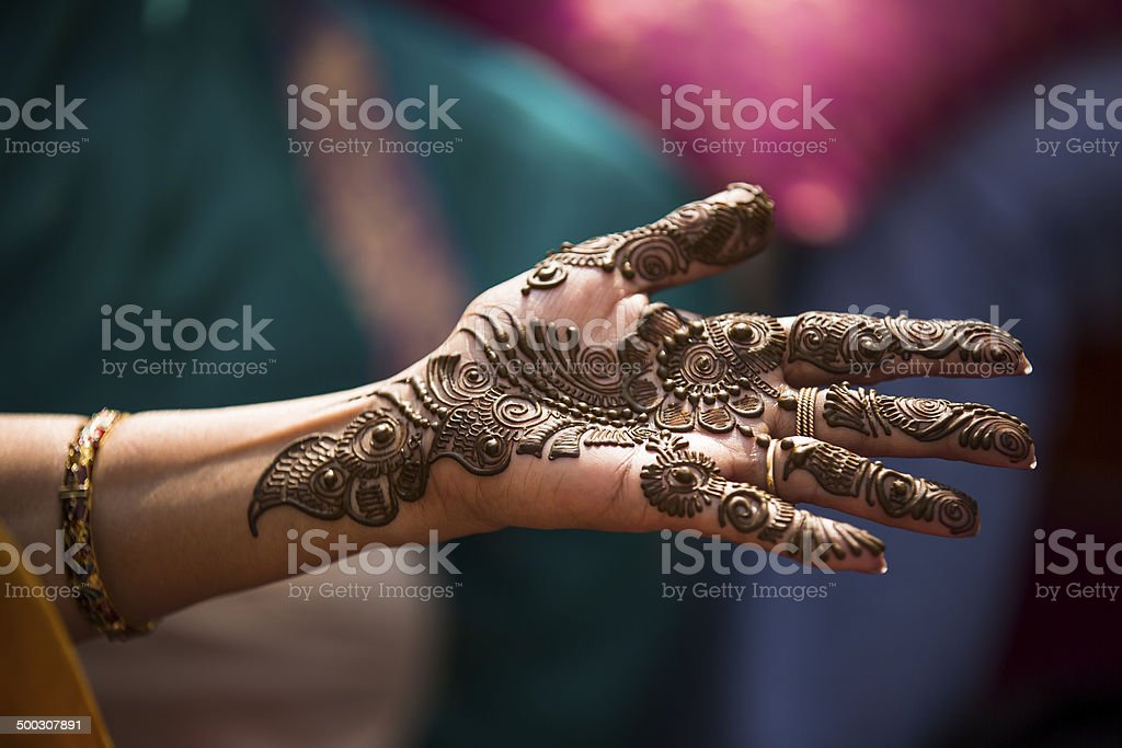 Heena Tattoo on a Bride's hands. stock photo