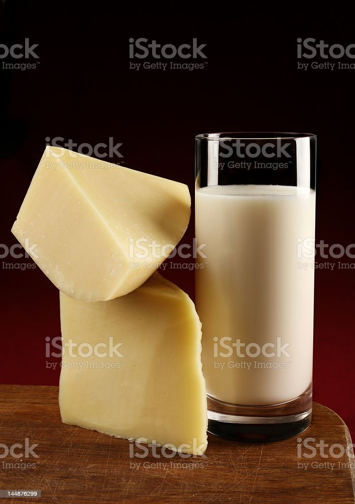 Сheese slice and milk royalty-free stock photo