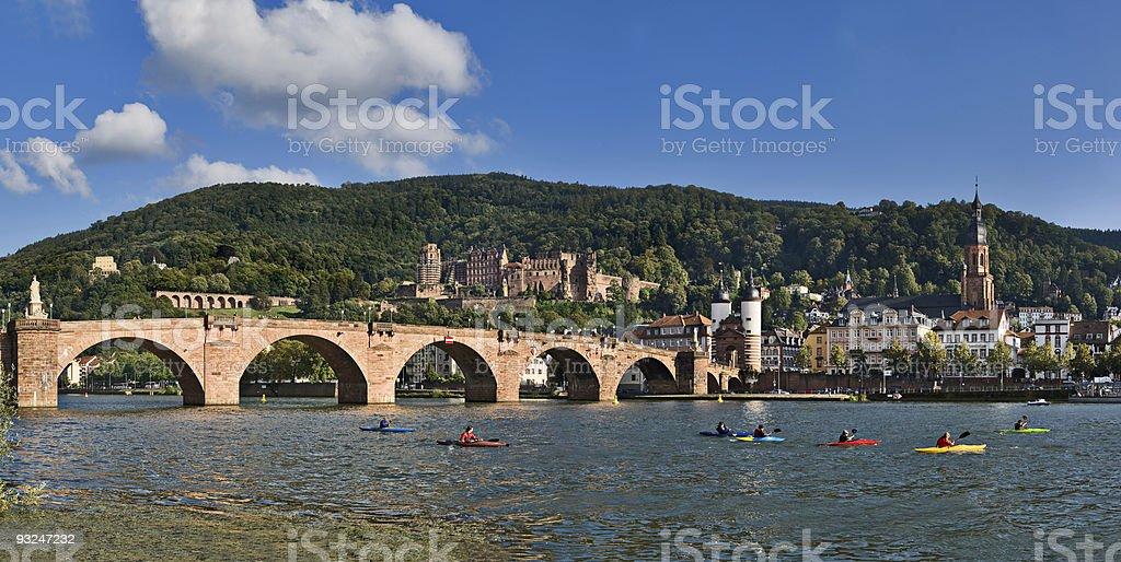 Heidelberg and Neckar river panorama stock photo