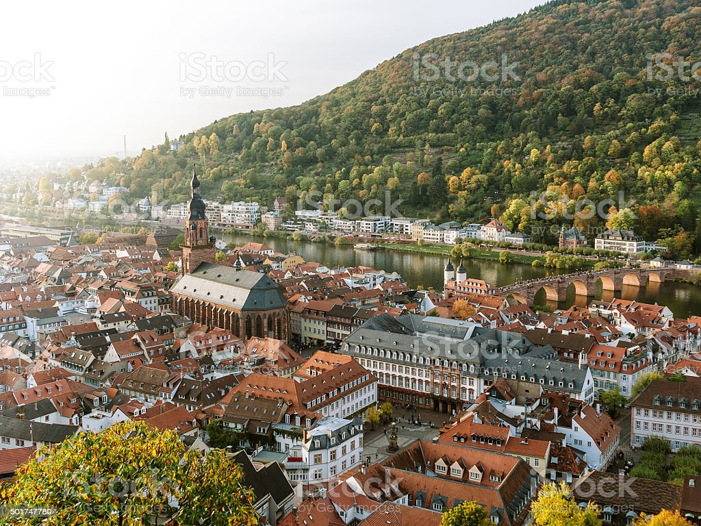 Heidelberg at sunset stock photo