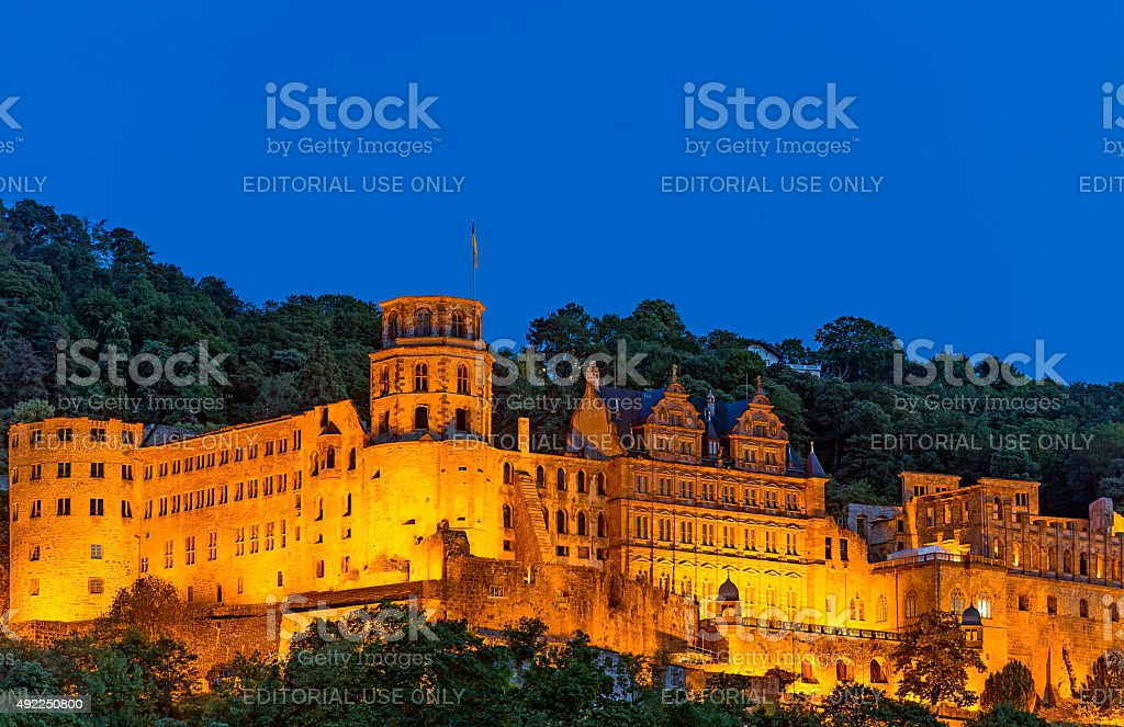 Heidelberg Castle at Night stock photo