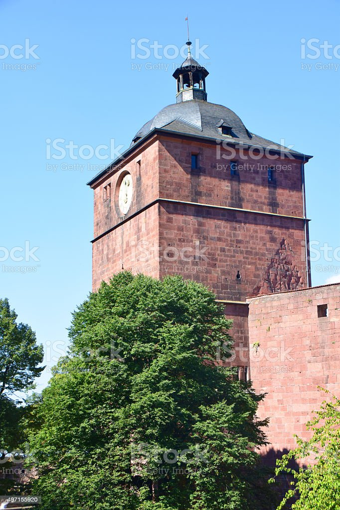 Heidelberg Castle Clock Tower stock photo