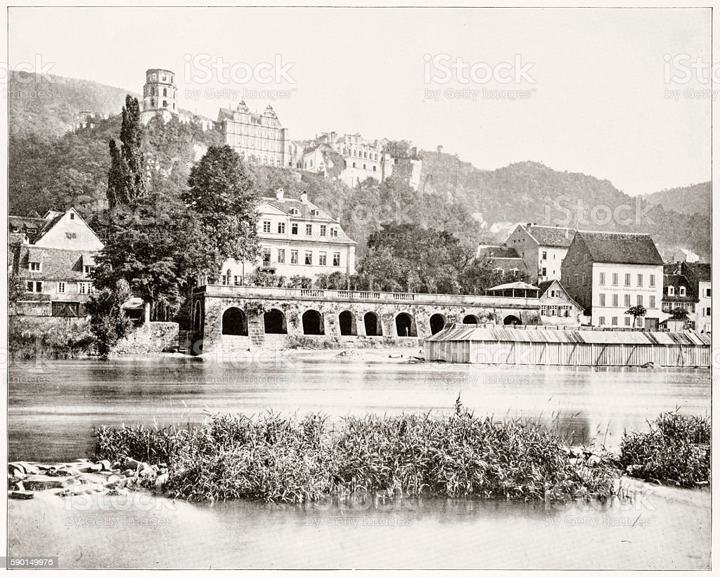Heidelberg Castle, Germany in 1880s stock photo