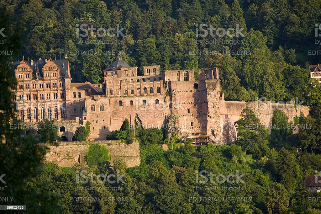Heidelberg castle over the river Neckar in Germany stock photo