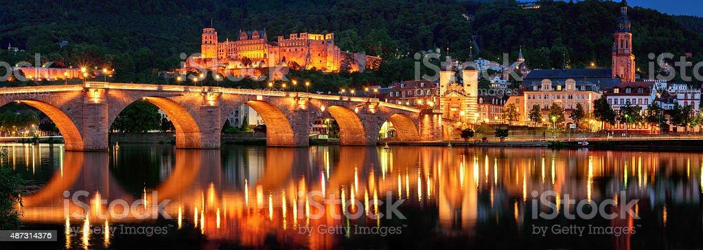 Heidelberg, Germany, night panorama stock photo