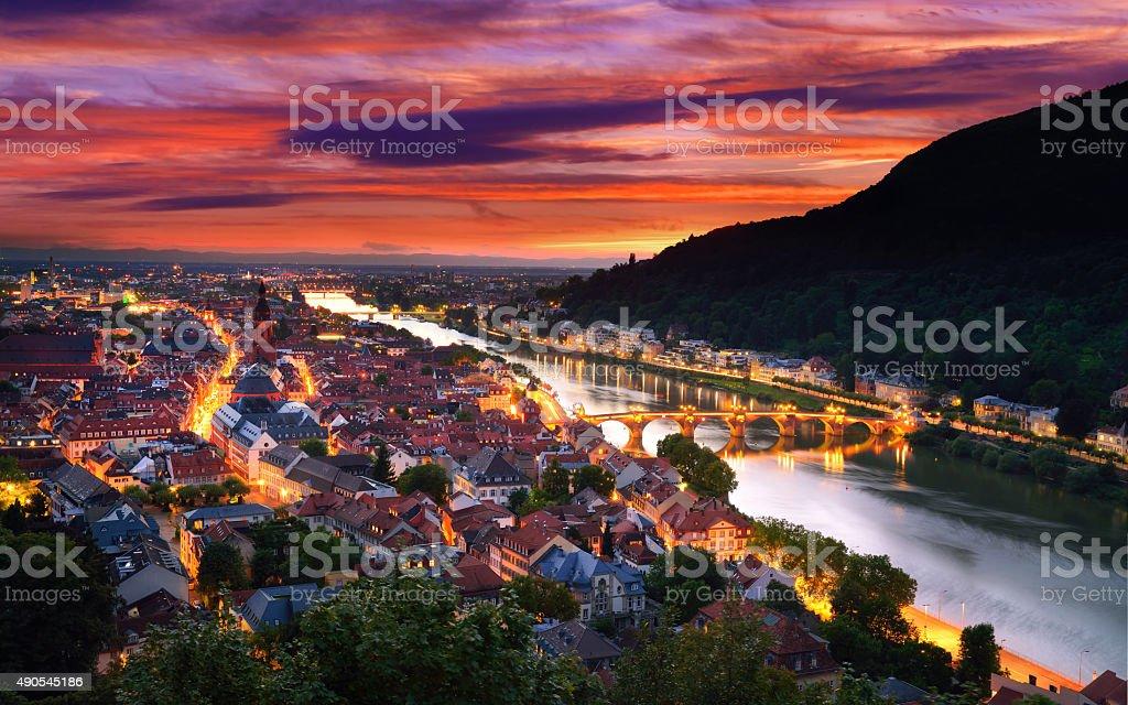 Heidelberg, Germany, with dramatic dusk sky stock photo