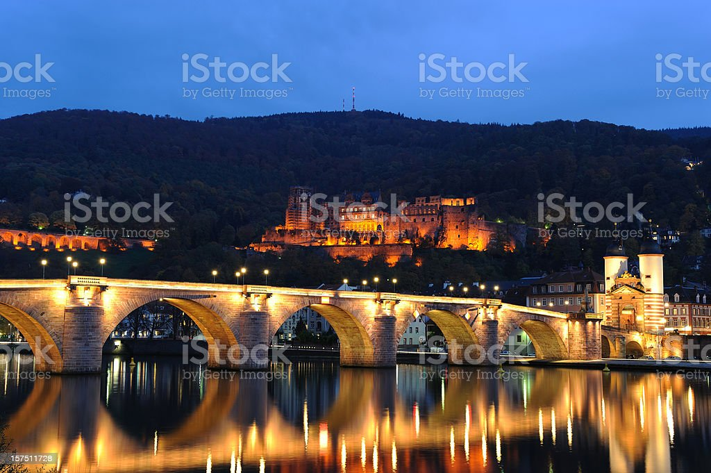 Heidelberg Illuminated Bridge with Palace and Twin Tower Fall royalty-free stock photo