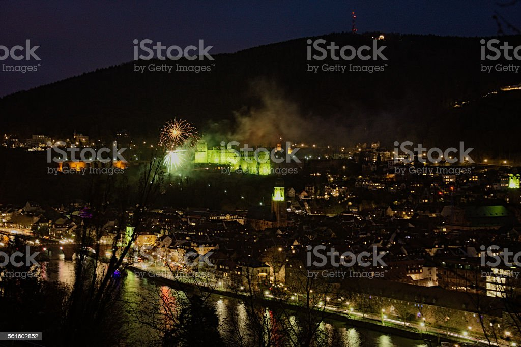 Heidelberg in green with firework stock photo