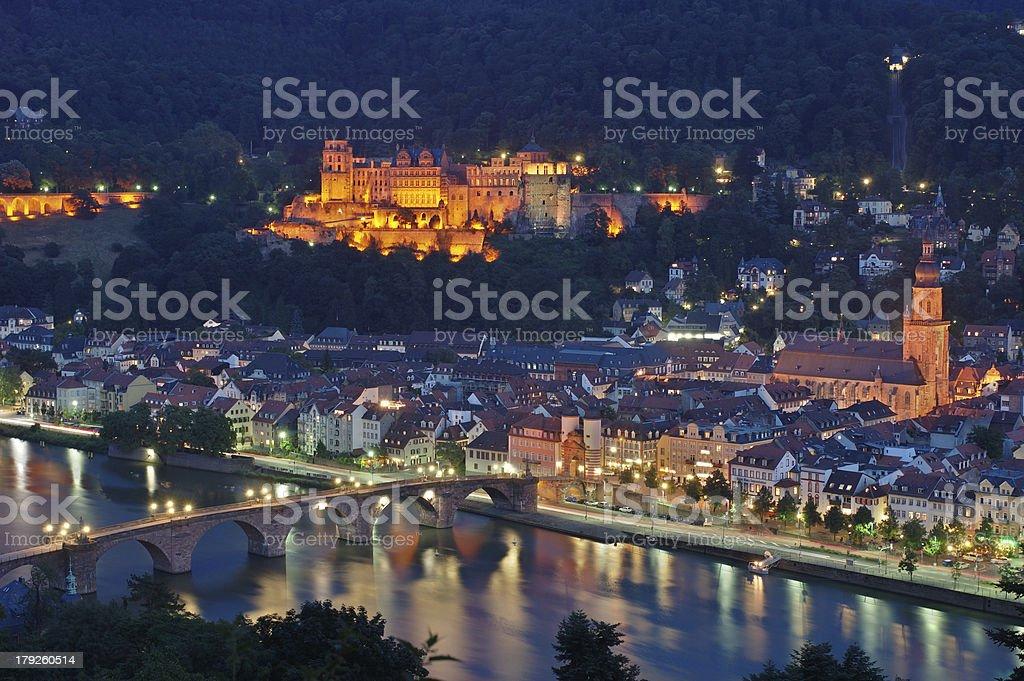 Heidelberg Old Town at Night stock photo