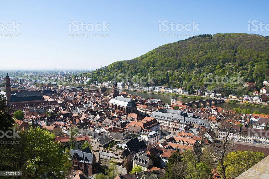 Heidelberg, on the hill and Old Bridge over river Neckar stock photo