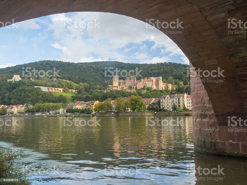 Heidelberg, view of the castle through the arch of old bridge stock photo