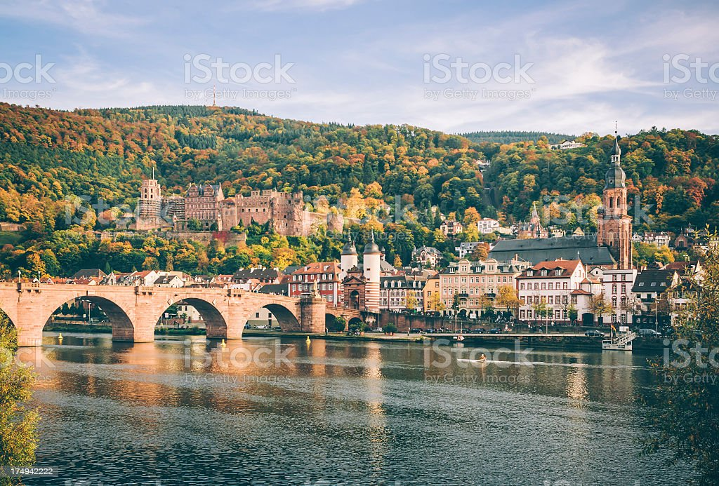 Heidelberg with the Alte Brucke in autumn stock photo