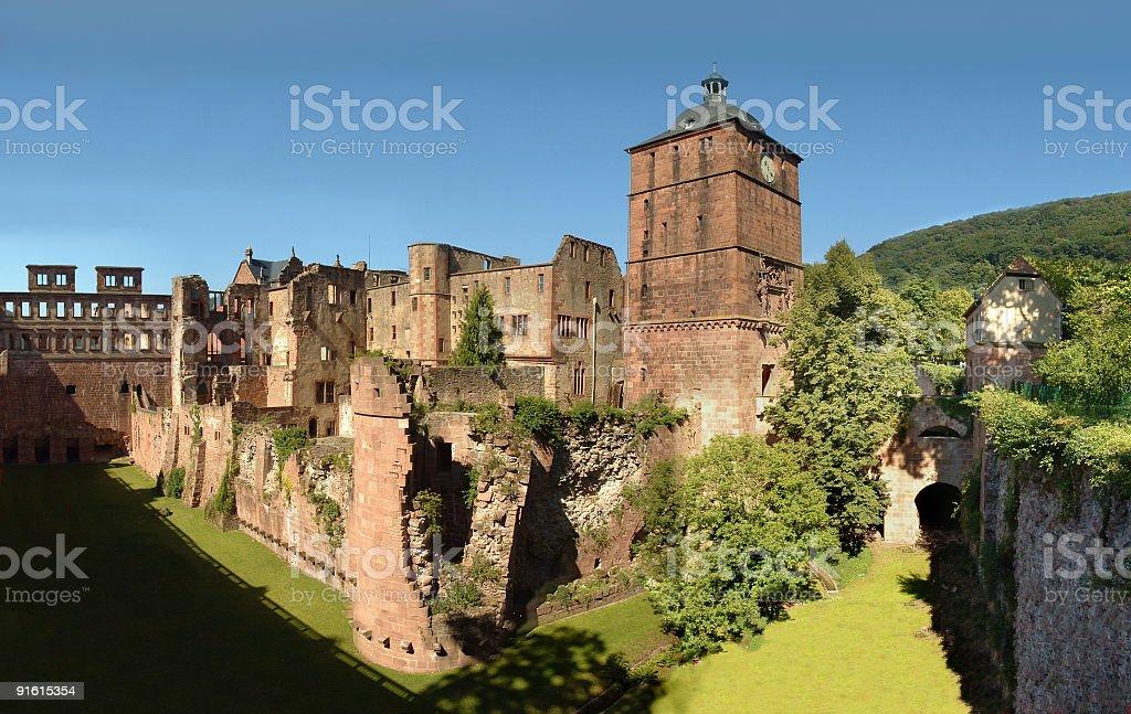 Heidelberger Schloß mit Ruprechtsbau, Hirschgraben, Torturm und Gefängnisturm stock photo