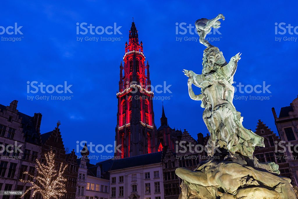 Heighlighted Cathedral of Our Lady in Antwerp in Belgium stock photo