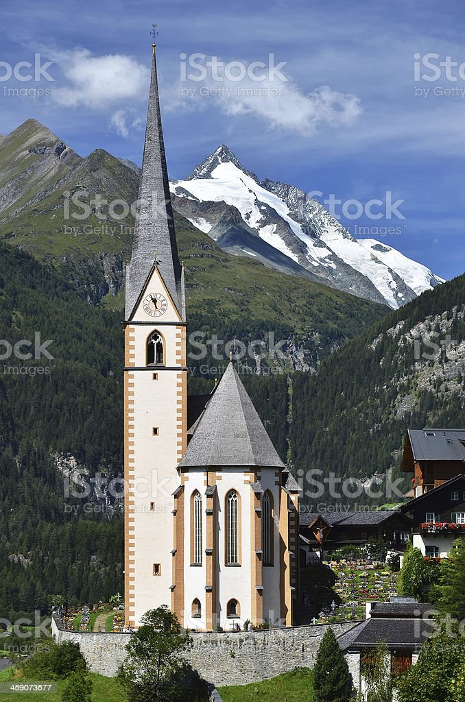 Heiligenblut church and Grossglockner mountain, Austria royalty-free stock photo