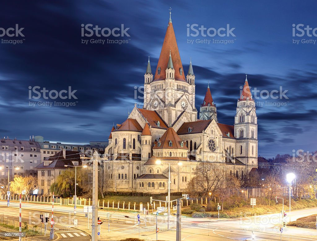 heiliger franz von assisi church in Vienna, Austria stock photo
