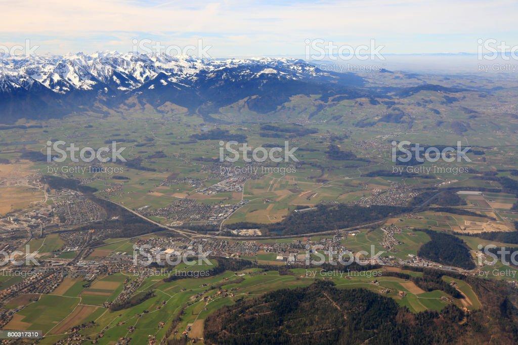 Heimberg near Thun with Alps mountains Switzerland aerial view photography stock photo