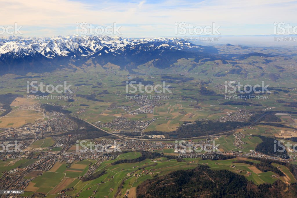Heimberg with Alps mountains Switzerland aerial view photography stock photo