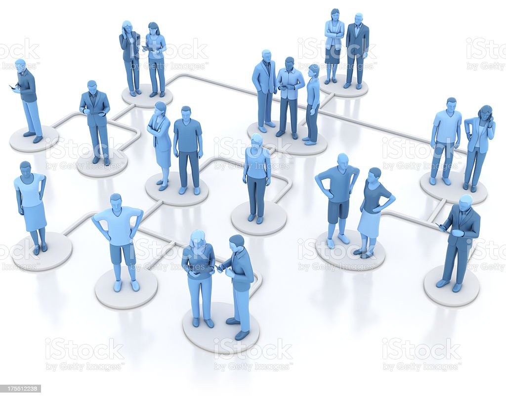 Heirarchical organisation chart - blue stock photo
