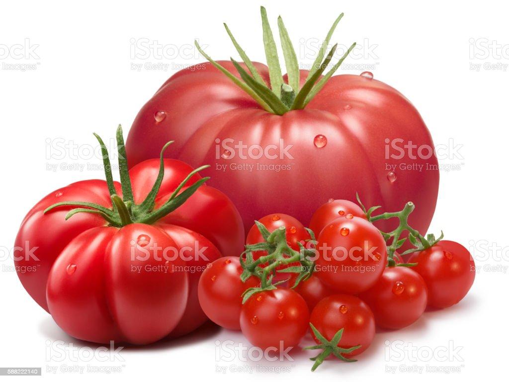 Heirloom ribbed tomatoes, three cultivars, paths stock photo