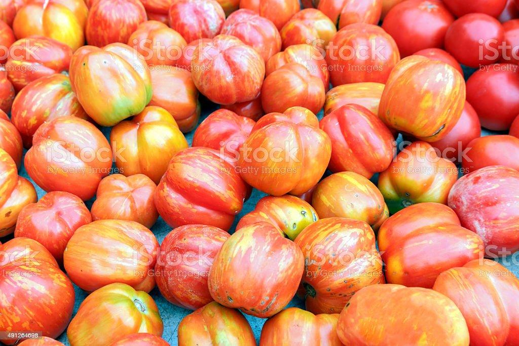 Heirloom Tomatoes at a Farmer's Market in Washington, D.C. stock photo