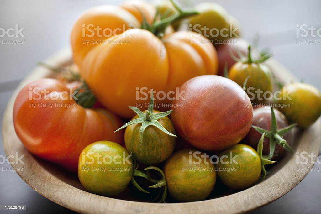 Heirloom tomatoes from the home garden stock photo