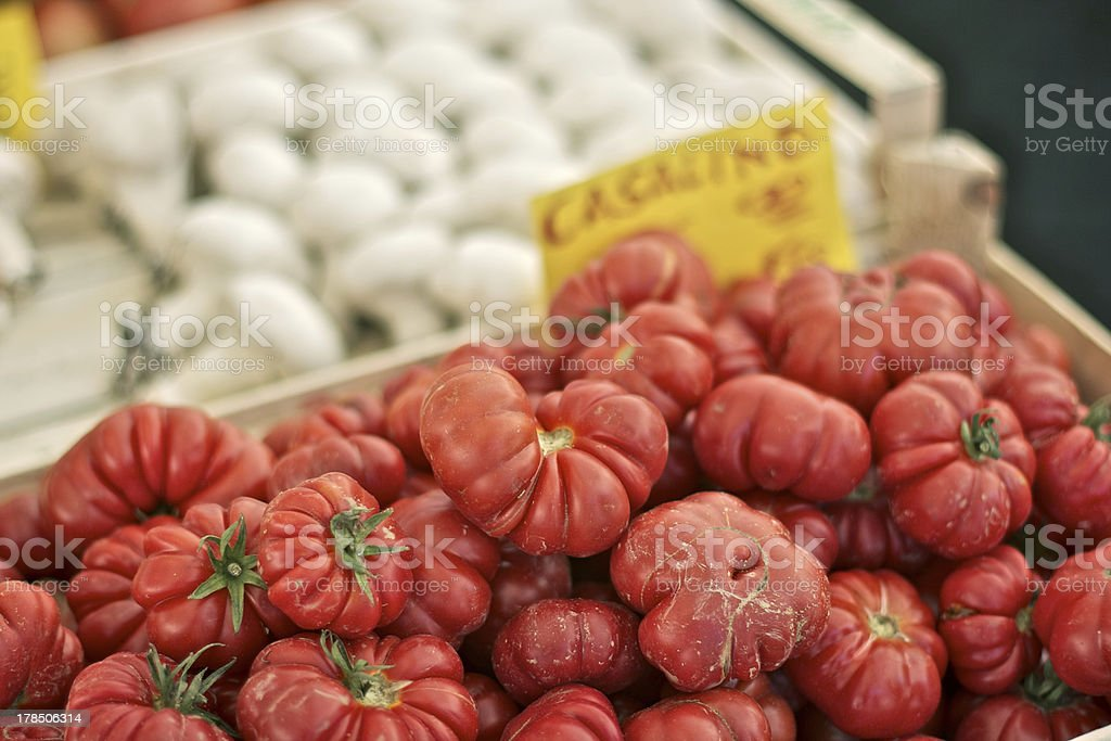 Heirloom tomatoes in a basket royalty-free stock photo