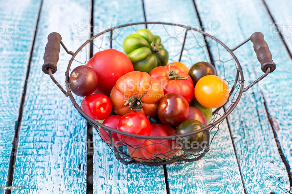 Heirloom tomatoes in basket stock photo