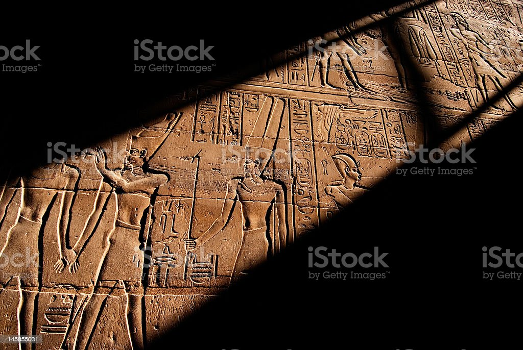 Heiroglyphics in the Luxor Temple, Egypt royalty-free stock photo