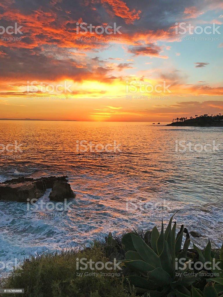 Heisler Park Sunset Laguna Beach stock photo