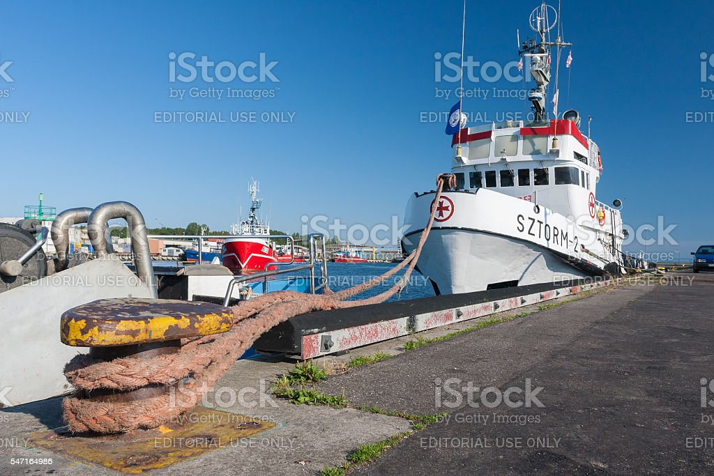 Hel, Poland July 2, 2009: rescue ship in port stock photo
