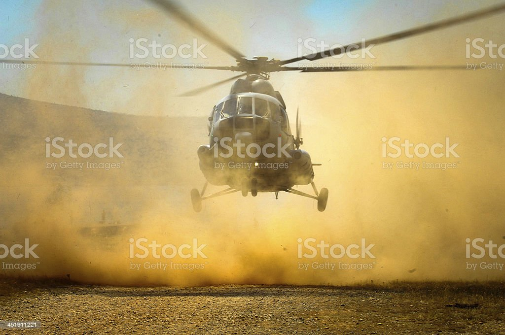 Helecopter Landing with Debris stock photo