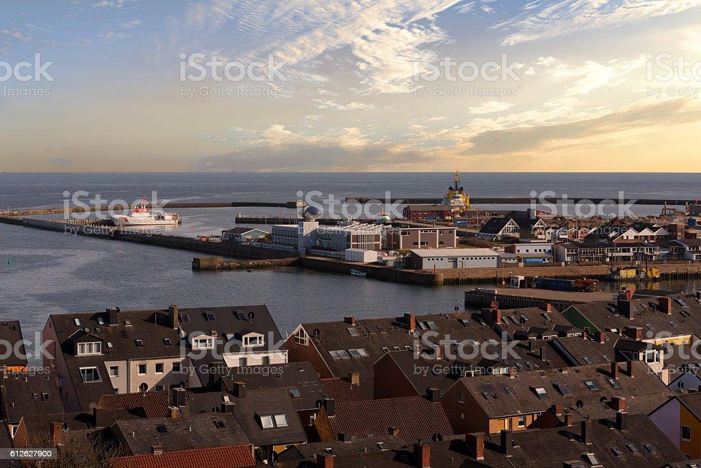 helgoland city harbor from hill stock photo