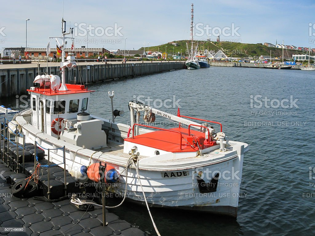 Helgoland harbour in Germany stock photo