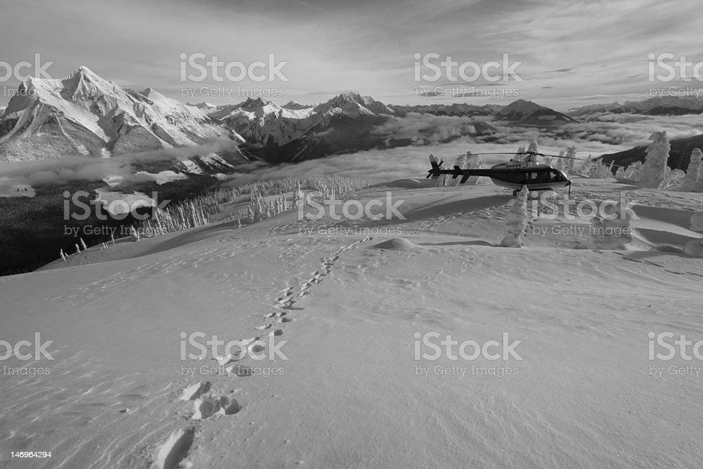 Heli skiing royalty-free stock photo