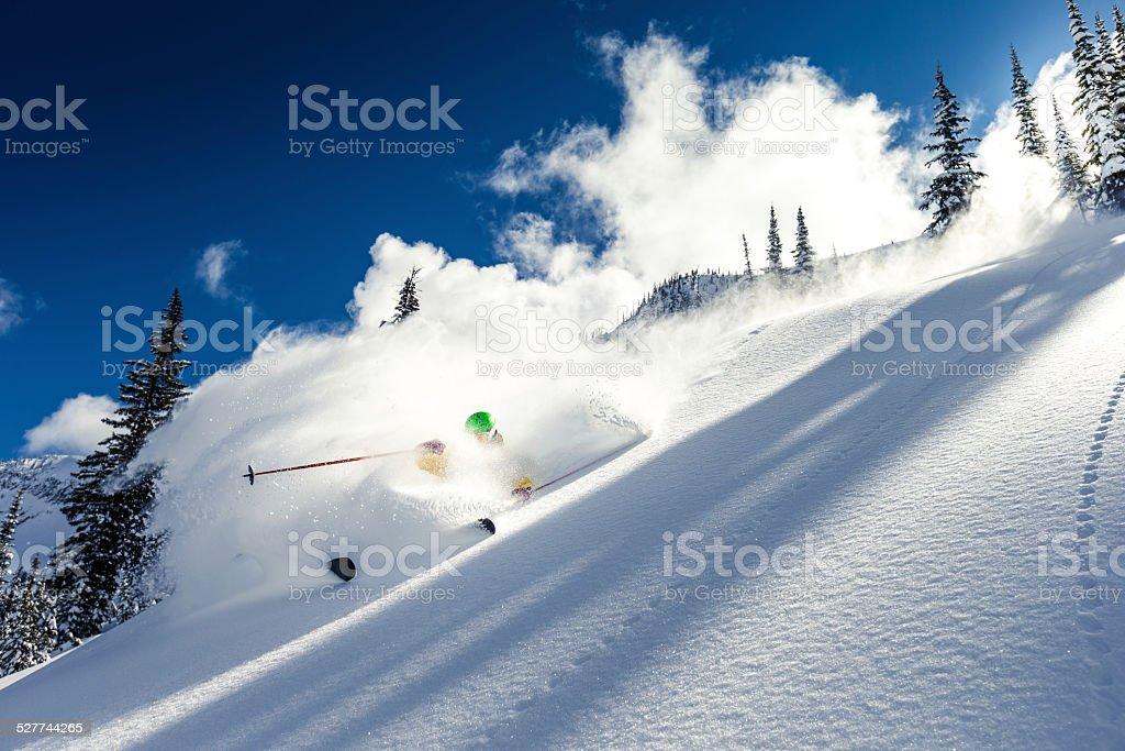 heli skiing stock photo