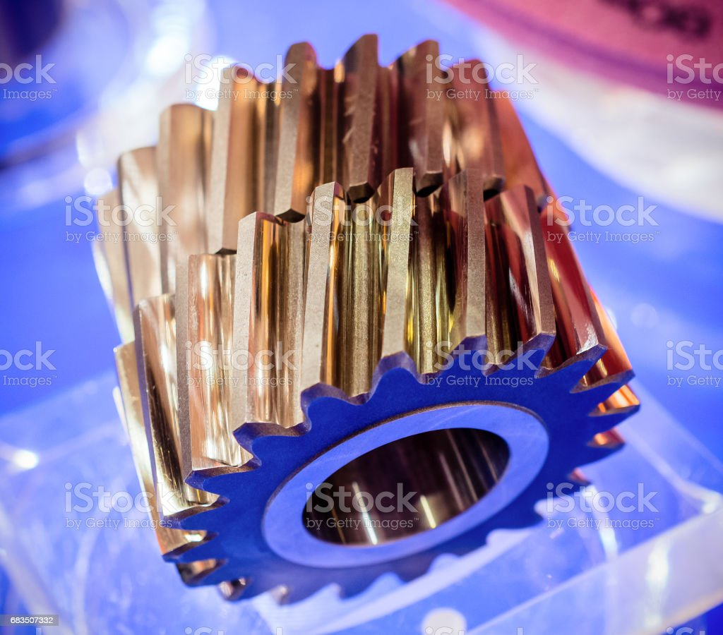 Helical gears close-up stock photo