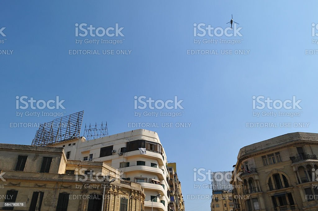 Helicopter above Cairo during 2011 protest stock photo