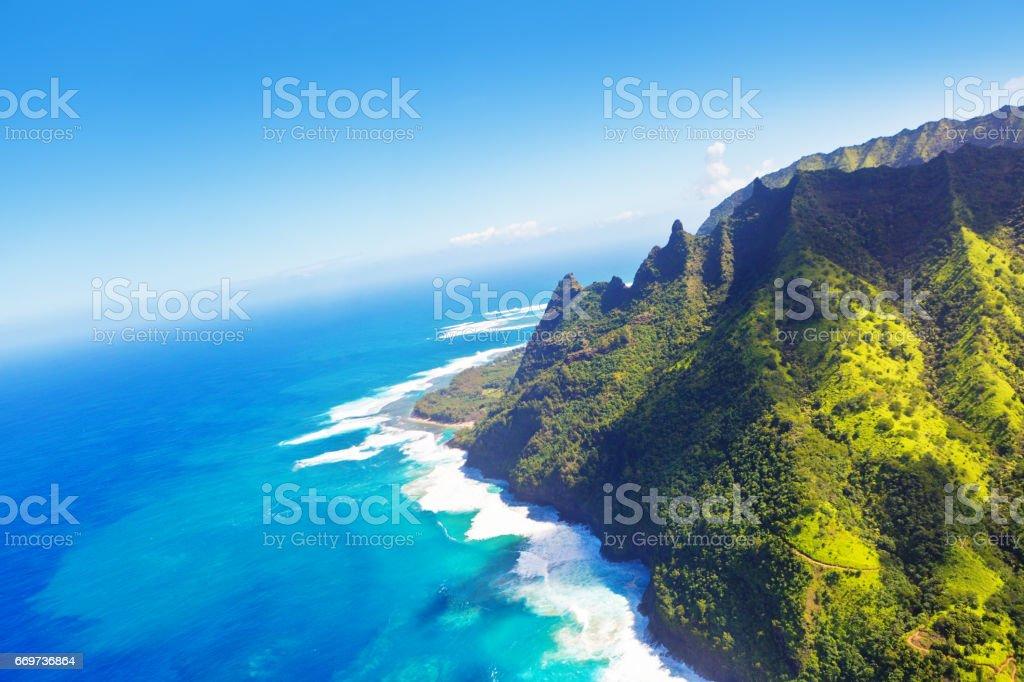 Helicopter Aerial View of Na Pali Coast in Kauai, Hawaii stock photo