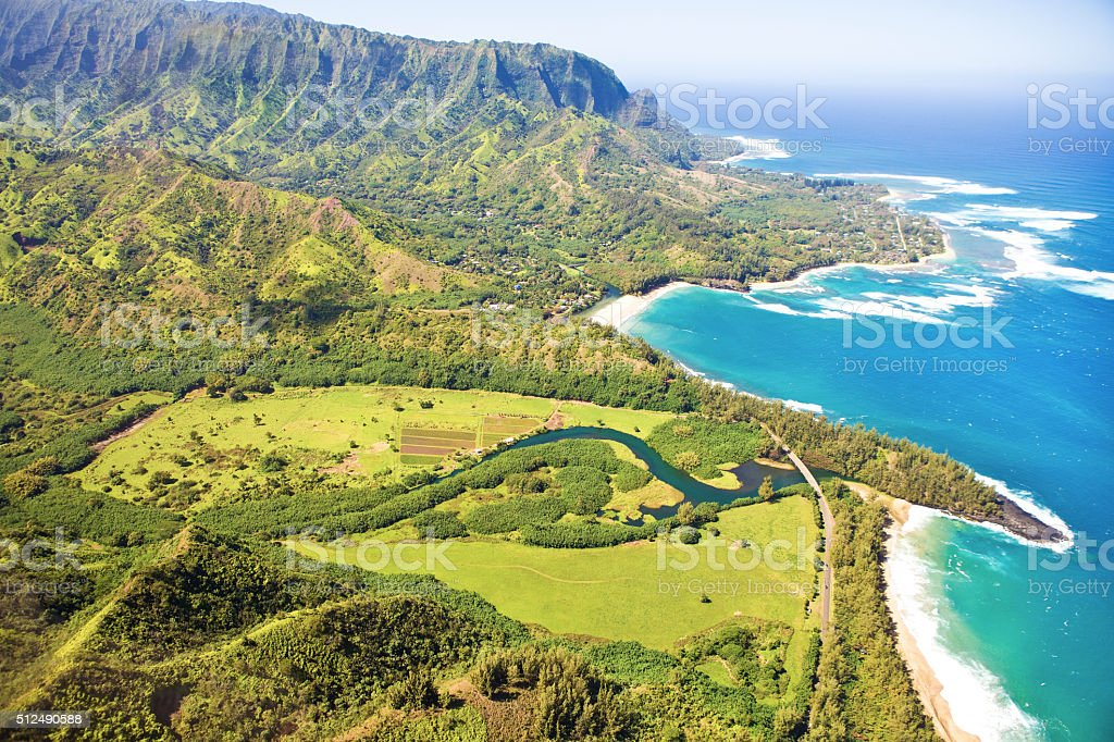 Helicopter Aerial View of Scenic North Coast of Kauai stock photo
