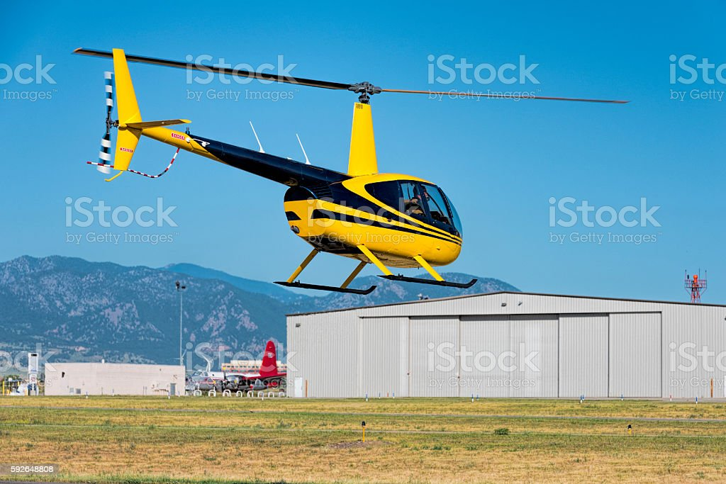 Helicopter Airport Departure Hover stock photo