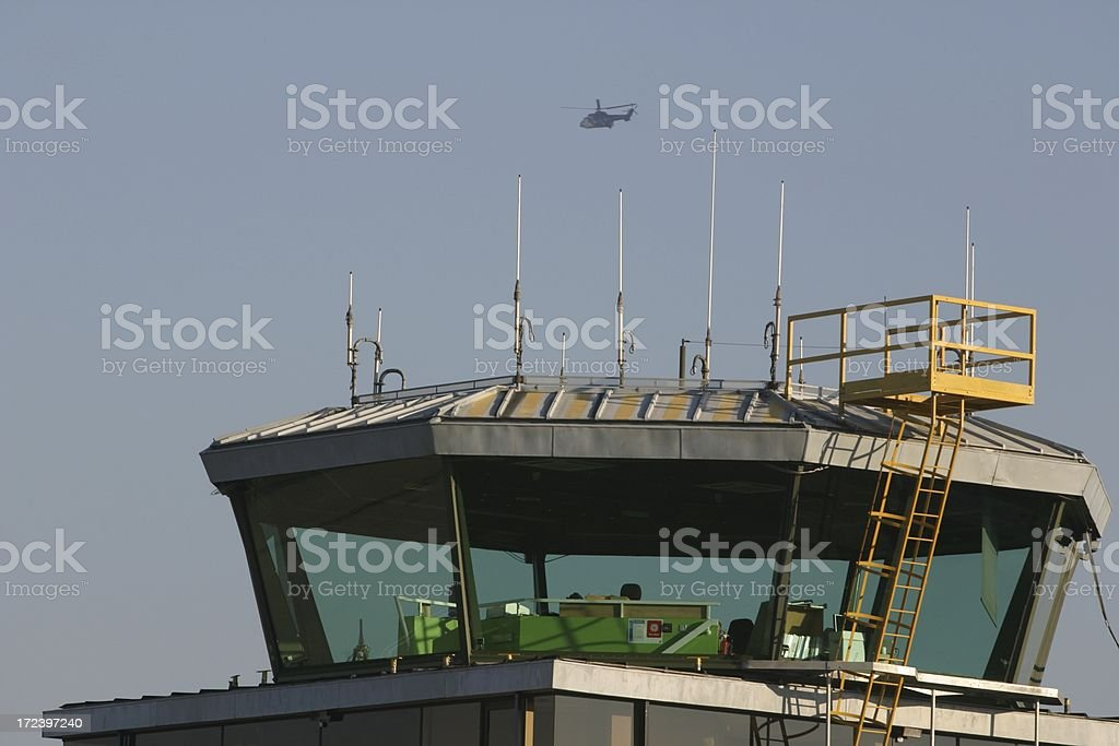 helicopter and control tower Aberdeen airport, Scotland royalty-free stock photo
