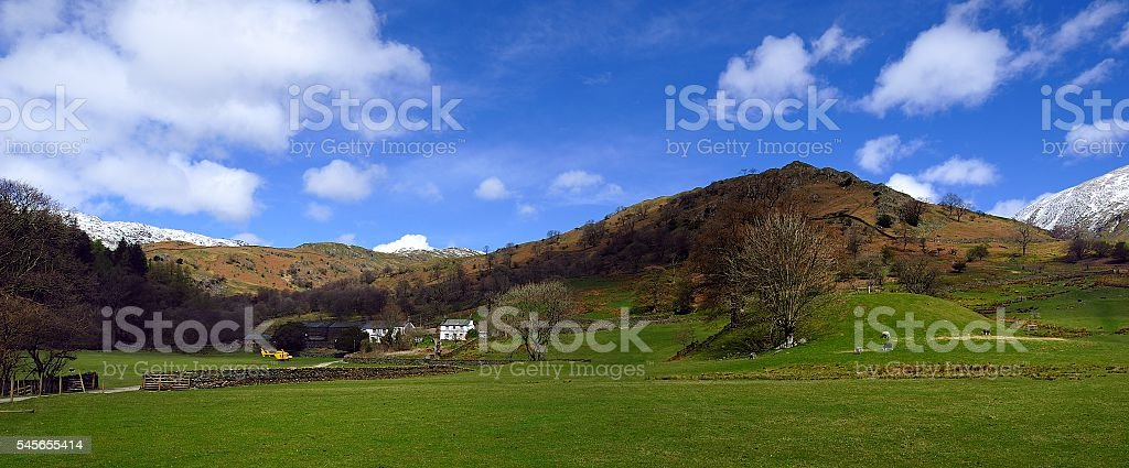 Helicopter and farm stock photo