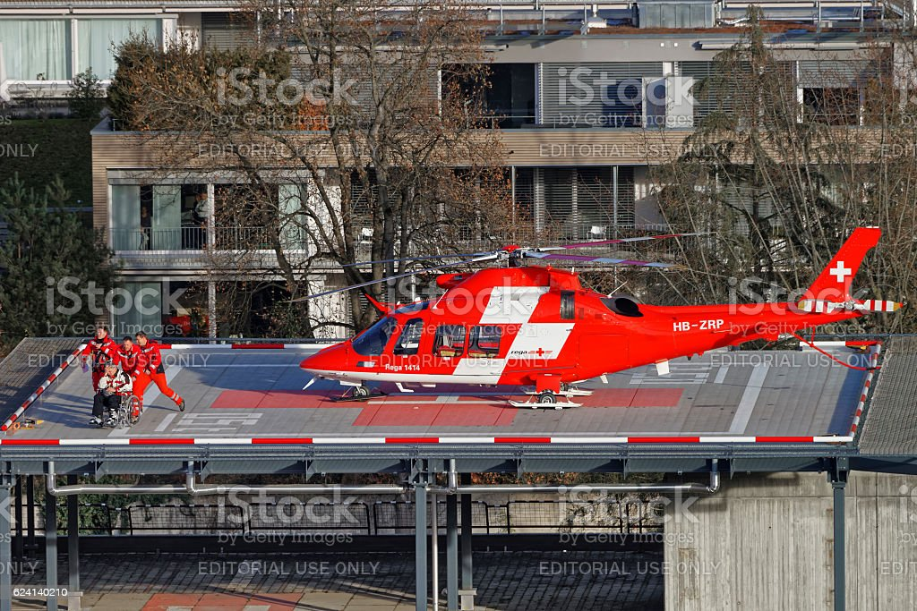 Helicopter and patient on the hospital roof in Thun City stock photo