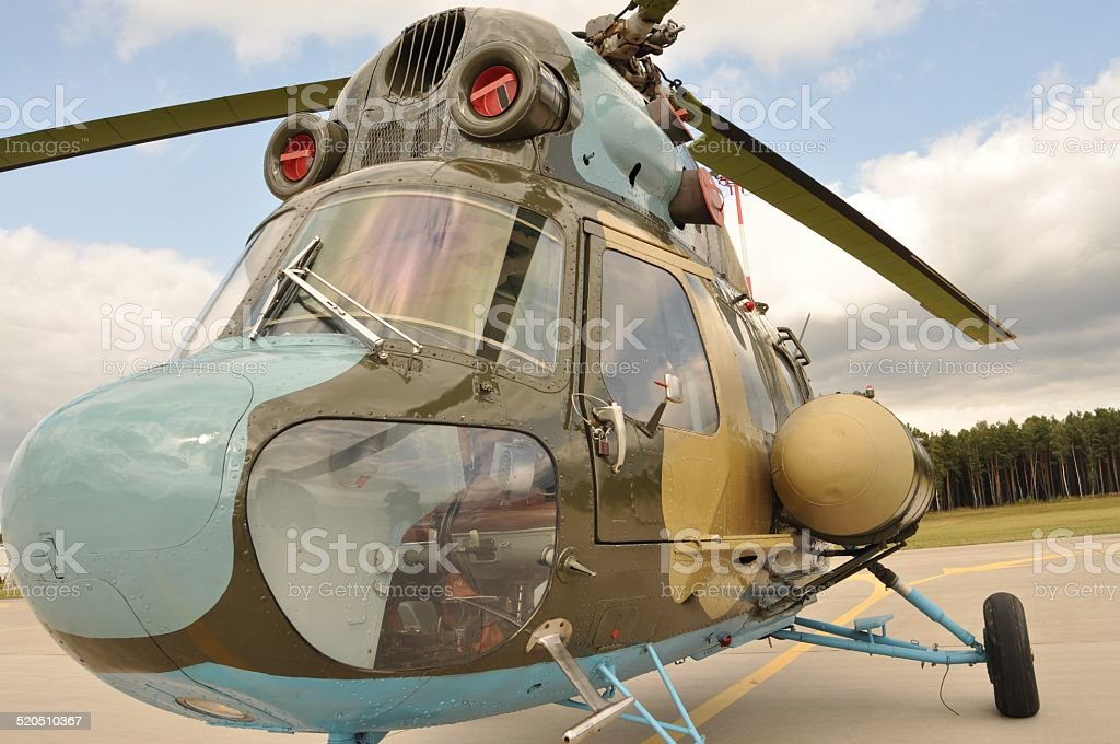 Helicopter at the airport stock photo