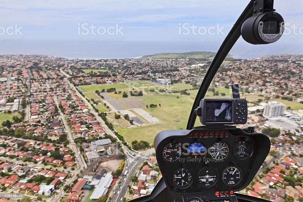 Helicopter Cabin Flight stock photo