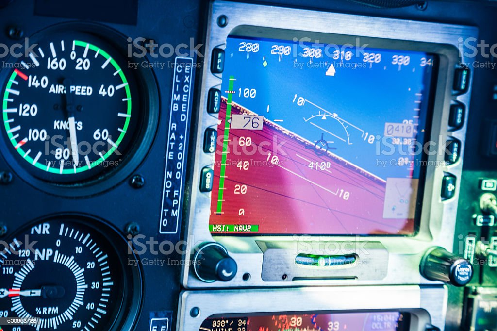 Helicopter cockpit close up on the altimeter stock photo