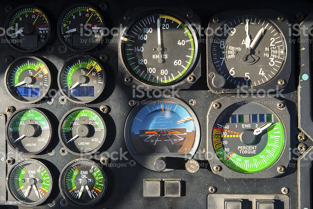 Helicopter Cockpit Gauges and Indicators royalty-free stock photo