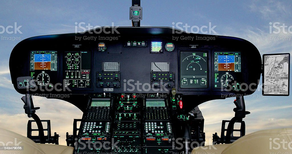 Helicopter Cockpit Instruments Panel stock photo