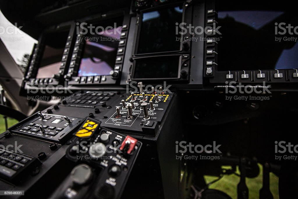 Helicopter cockpit interior stock photo